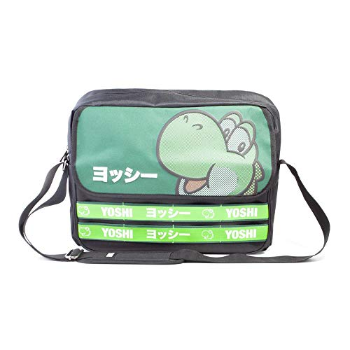 Nintendo Super Mario Bros. Yoshi Taped Messenger Bag, Unisex-Erwachsene, Schwarz (Black)