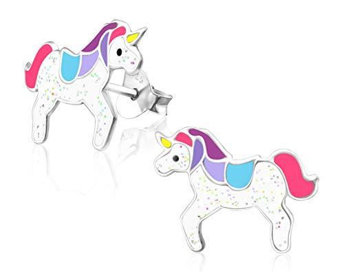 Laimons Pendientes infantiles para niñas, joyas para niños, unicornio, criaturas míticas, azul, rosa, blanco, brillante, de plata de ley 925