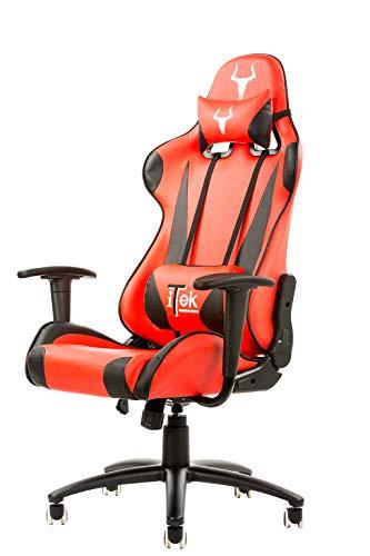 ITEK Gaming Chair Taurus P2 - Pelle Sintetica Pu, Doppio Cuscino, Nero Rosso, poliuretano