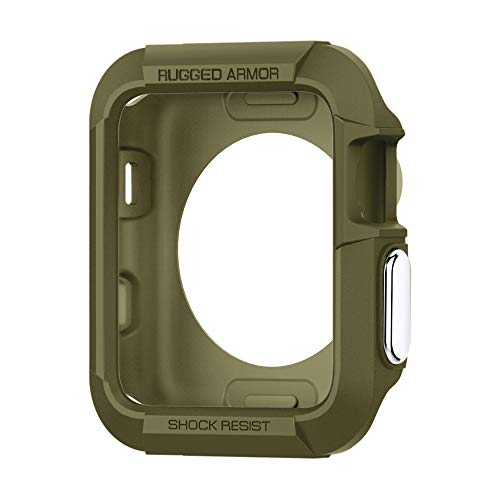 Spigen Rugged Armor Compatibile con Apple Watch Custodia per 42mm Serie 3 / Serie 2/1 / Originale (2015) - Verde Oliva