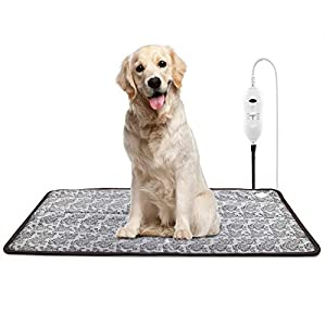 unknowns XXL Pet Heating Pad for Large Dogs and Indoor Cat Electric Heated Blanket Warming Bed Mat with Waterproof Layer & Chew Resistant Steel Cord (35″X24″)