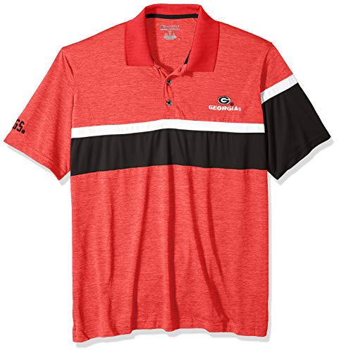 NCAA Georgia Bulldogs Mens NCAA Men's Short Sleeve Striped Polo Collared Teechampion NCAA Men's Short Sleeve Striped Polo Collared Tee, Athletic Red, Medium