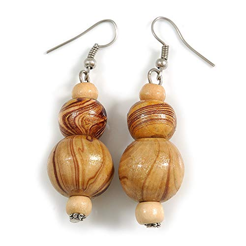 Natural/Brown Colour Fusion Wood Bead Drop Earrings with Silver Tone Closure - 55mm Long