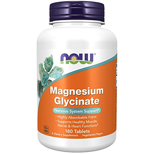 NOW Supplements, Magnesium Glycinate 200 mg, Highly Absorbable Form, 180 Tablets