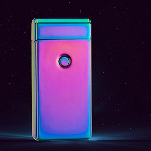 NUOLUX Nuolux Elektrisches wiederaufladbares Feuerzeug mit Doppelbogen, USB, ohne Flamme winddicht bunt