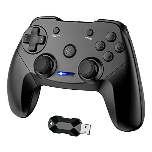 CHEREEKI Controller für PC/PS3,2.4G Wireless Gamepad für PC (Windows XP/7/8/8.1/10)/PS3/Steam mit Dual Vibration/Liner Trigger/8H Spielzeit(Schwarz)