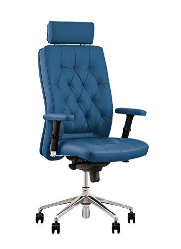 Chester Poltrona di direzione ergonomico, sincrono. Braccioli regolabili.. Offre Una Grande ergonomia alle persone di una dimensione fino a 200 cm. Capacite di carico 150 Kg. Vera pelle blu.