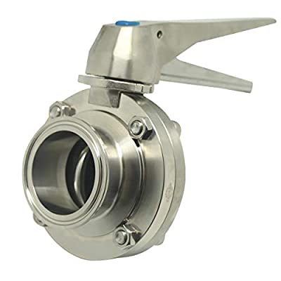 """Sanitary Stainless Steel 304 Tri Clamp Butterfly Valve with Trigger Handle and EPDM Seal, 1.5"""" Tube OD (2 Pack) by QiiMii"""