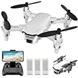 4DRC V9 Mini Drone with Camera for kids beginners,720P HD FPV Live Video Camera,3 Batteries,RC Quadcopter Helicopter Toys Gifts, Altitude Hold, Waypoints Functions, One Key Start, 3D Flips,Gray
