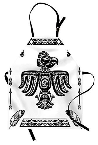 Delantal de águila, diseño del arte del tatuaje inspirado en el tótem de la herencia peruana mexicana de las culturas primitivas, delantal de cocina unisex con cuello ajustable para cocinar hornear ja