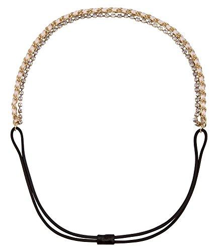 SIX Funkelndes Haarband: 2 filigrane Haarketten mit Gummi im Nacken, metallisches Kettenband mit eingearbeitetem Textilband und glitzernden (252-817)