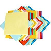 XiZiMi 100スクエア紙折り紙 折り鶴、バラ、花、飛行機、ハート型、子供向けアート、DIY工芸品、装飾工芸品 折り紙 20 colors 15cm