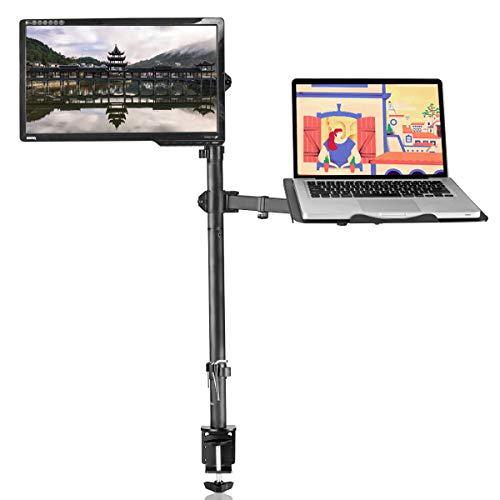 Suptek Monitor Halterung mit Laptop Arm/Tablet Ablage - Doppelständer Klemmarbeitsplatz Voll Bewegliche Neigbar & Drehbar für 13 bis 27 Zoll LCD LED Bildschirm 2 Montageoptionen MD6832TP004
