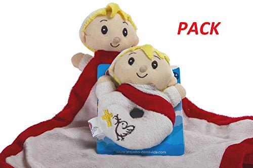 Jesusito de mi vida Pack Mantita para bebé 35x35 cm + Sonajero de Peluche 14cm Regalo Original para Bautizo y recién Nacido (Ref. 5005)
