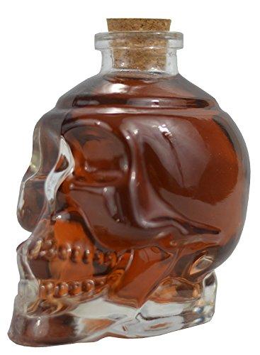 Ducomi Rover Glazen fles met doodskop voor vloeistoffen, wijn, bier en alcohol met kurksluiting – origineel kerstcadeau voor dames en heren