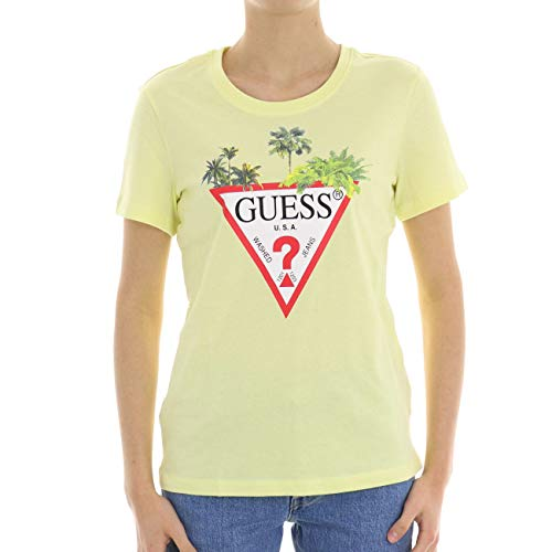 Guess Tshirt Stampa Palma Donna Giallo TG L