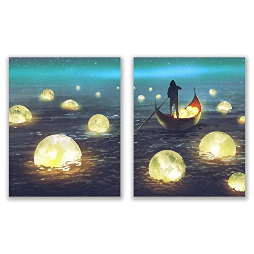 Unframed Pop Prints Anime River Lights - Set of 2 (8x10) Glossy Nature Japanese Painting Wall Art Decor