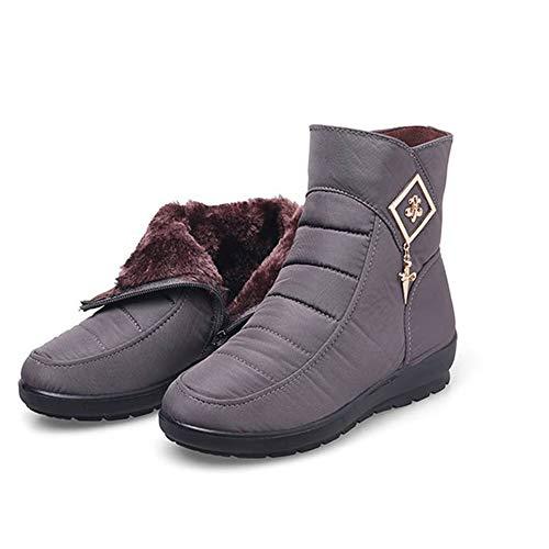 MNSSRN-MM Damen-Ski-Stiefel, modisch, einfach, Temperament, kurzer Schlauch, warm, dick, runder Kopf, dicke Baumwollschuhe, grau, 42
