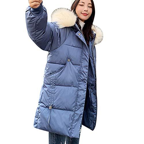 Bumplebee Baumwolljacke Damen Schwarz Lang Pelzkragen Mantel Damen Elegant Warm Plüsch Dicke Daunenjacke Slim Mode Windbreaker Winterjacke Einfarbig Trenchcoat Baumwollkleidung Winter