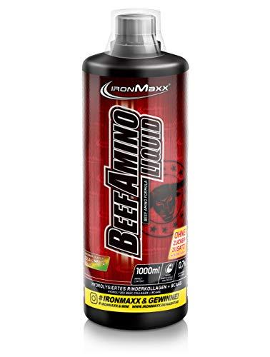 IronMaxx Beef Amino Liquid flüssige Aminosäuren zuckerfrei, Geschmack Cola Limette, 1000 ml Flasche (1er Pack)