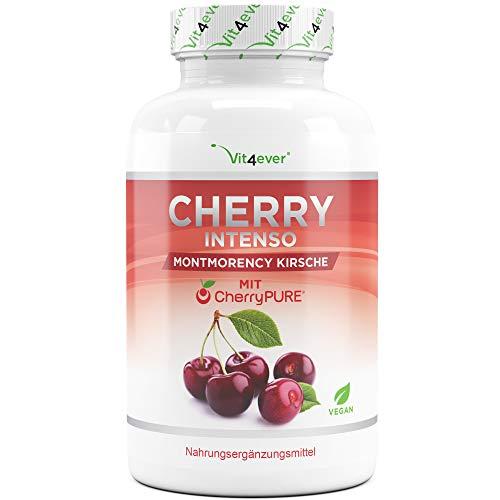 Cherry Intenso - 100 Kapseln mit 550 mg Extrakt - Premium: CherryPure® mit Konzentration 50:1-100% Montmorency Sauerkirsche - Laborgeprüft - Vegan - Hochdosiert