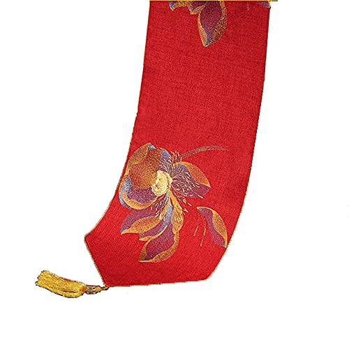 Lqdp Caminos de Mesa Camino de Mesa de Estilo Tradicional, Mantel Individual Duradero con patrón de borlas para Sala de Estar, decoración de Armario de TV (Color : Red, Size : 35×210cm/13.5×82.7in)
