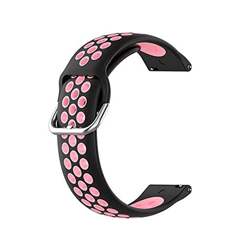 LBWNB Correa de silicona para reloj Samsung Galaxy Watch 42 46 mm Gear S3 para Huawei Watch Gt 2 Correa Active 2 Sports Watch (Color de la correa: negro rosa, ancho de la correa: 22 mm)