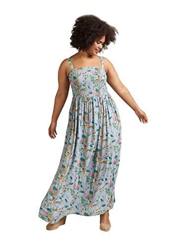 Zizzi Damen Sommerkleid Raffung Dünne Träger Ärmellos Kleid Große Größen 42-56