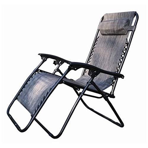 Hyfive Tumbona reclinable plegable para jardín, playa, patio, camping, gravedad cero, 1 silla, color gris