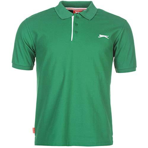 Slazenger Herren Polo Shirt Kurzarm Unifarben Polohemd Besticktes Logo Grün M