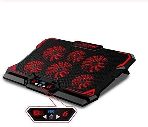 ZUIZUI Pantalla LED del ventilador del refrigerador del ordenador portátil de seis del juego, dos puertos USB del ordenador portátil del cojín de enfriamiento del ordenador portátil de 17 pulgadas