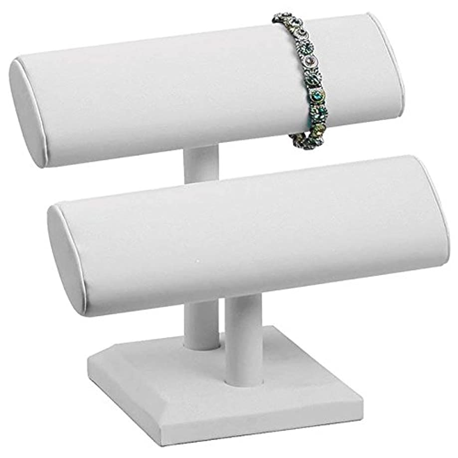 White Leather Jewelry Bracelet/Watch T-Bar Display Stand ~ 7