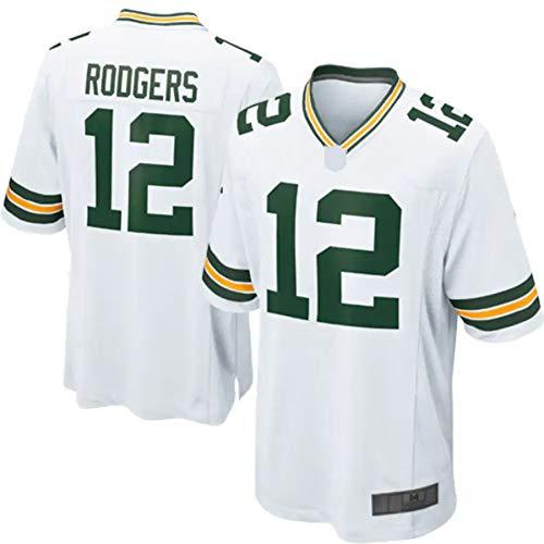 Green Bay Aaron Rugby Packers camiseta de los hombres personalizada camiseta de fútbol Jersey manga uniforme Rodgers corto 12# uniforme Jersey - blanco (blanco, XL)