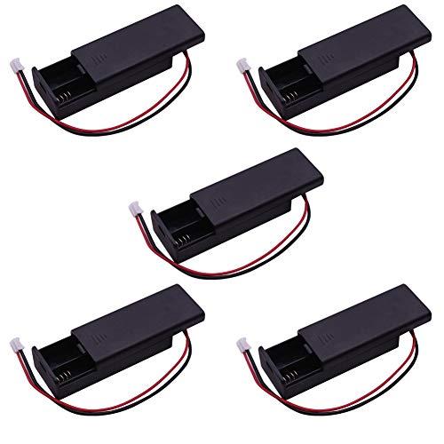 DIYmalls 3V 2 AAA Paquete de Soporte de batería Cubierta de la Caja Caja de Almacenamiento con Interruptor de Encendido/Apagado PH2.0 Cable Conector Macho 14 cm para Arduino Microbit (Paquete