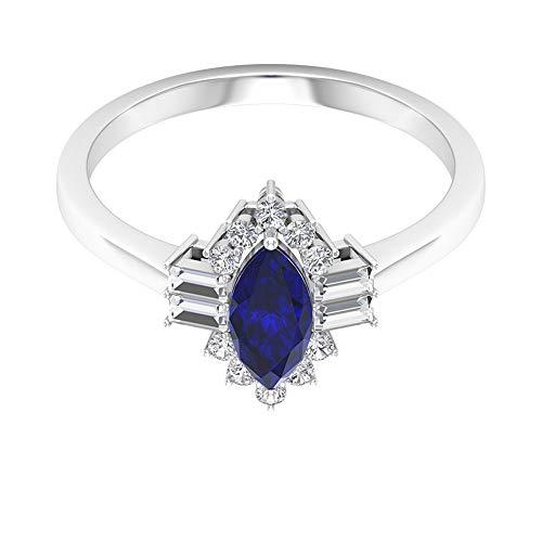 Rosec Jewels 18 quilates oro blanco marquesa round-brilliant-shape baguette-shape H-I Blue Diamond Zafiro difuso