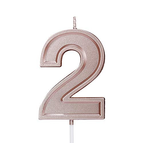 Birthday Candle Numbers Rose Gold Glitter Happy Birthday Numeral for Weddings, Reunions, Theme Party Perfect Baby's Pet's Birthday Cake Candle (Number 2)