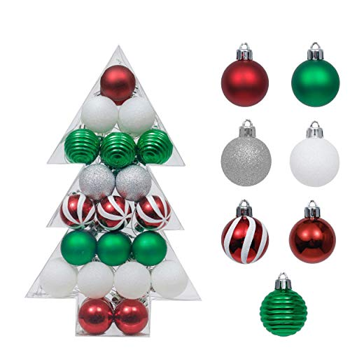 Valery Madelyn Weihnachtskugeln 48 Stücke 4cm Kunststoff Christbaumkugeln Weihnahctsdeko bruchsicher Baumkugeln mit Anhänger in Baumverpackung für Baumschmuck Rot Grün Weiß Basiskugel Thema