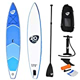 Goplus SUP Inflatable Cruiser Stand Up Paddle Board for Professional Racing 6' Thickness iSUP w/Removable Single Fin, Adjustable Paddle, Pump Kit and Backpack (12.5' Professional Sup)