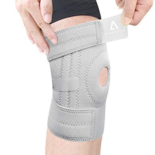 Anoopsyche Kniebandage, verstellbar, offen, Kniebandage, rutschfest, für Arthritis, Schmerzen im Haushalt, Rugby, Basketball, Laufen