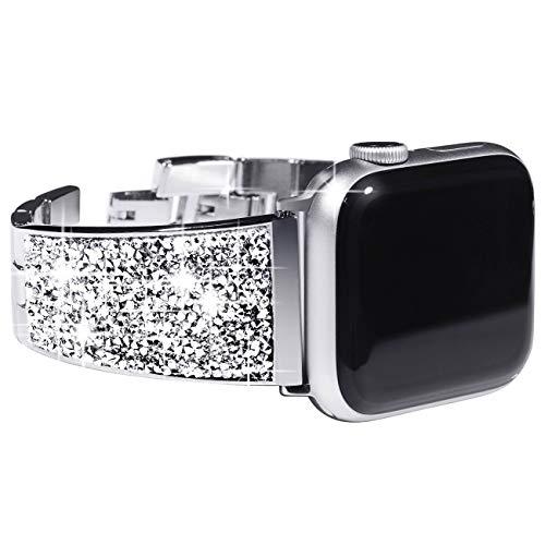 KADES Edelstahl-Armband kompatibel für Apple Watch Series 6 Series 5 Series 4 44mm, Frauen glänzend Link Armband kompatibel für iWatch Series 1,2,3 42mm, Silber