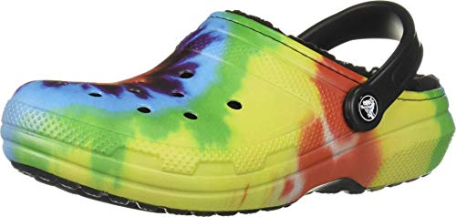 Crocs unisex adult Classic Lined Tie Dye Clog, Multi/Black, 11 Women 9 Men US