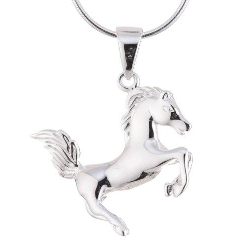 Vinani Anhänger Pferd glänzend mit Schlangenkette 40 cm Sterling Silber 925 Kette Italien APF-S40
