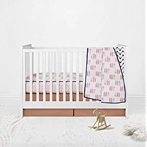 Bacati – 100% Cotton Muslin 3pc Crib Bedding Set Inlcudes 4 Layered Lux Muslin Blanket, Fitted Sheet and Crib Ruffle/Skirt (Coral/Navy Feathers/Buck)