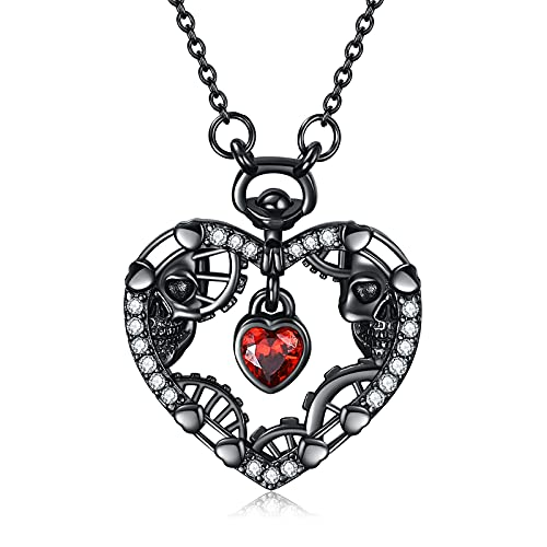 👹Inspiration:This Steampunk skull necklace design with skull and steampunk sytle to show the cool punk. The heart skull necklace also to show punk love for a key can be close each other,if you can pay the love and patient. 👹Best Gift:punk jewellery s...