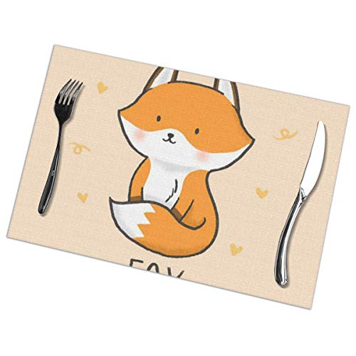 Cute Fox Animal Print Heat Resistant Table Mats Set of 6 Non-Slip Washable Placemat for Holiday Dining Kitchen Decor Modern Art