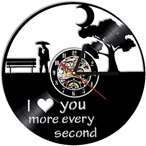 zgfeng Disco de Vinilo Reloj de Pared Regalo de Amor Reloj Musical único Reloj de Pared artístico 3D Personalidad Idea de Regalo del día de San Valentín-con LED