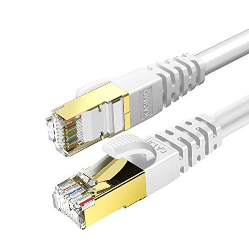 KASIMO Cable Ethernet De Red Cat 8 con Conector RJ45 Oro Alta...