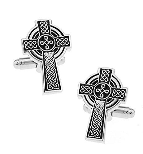 Keltisches Kreuz Manschettenknöpfe in einer luxuriösen Präsentationsbox. Neuheit. Religion. Glauben. Thema Schmuck