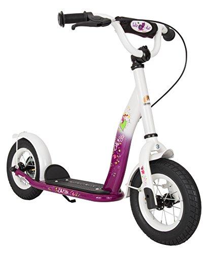 BIKESTAR Roller Kinderroller Tretroller Kickscooter mit Luftreifen für Mädchen ab 4-5 Jahre | 10 Zoll Classic Kinder Scooter | Berry & Weiß
