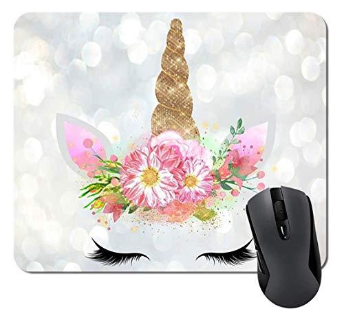 Blumen Einhorn Geschenke Mauspad Matte Niedliche Einhorn Gesichtslehrer Mousepad Schreibtisch Zubehör für Frauen Große Geschenkidee, 9.6x8.8 inch